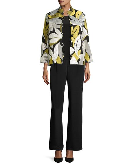 Easy-Fit Leaf Jacquard Jacket, Multi, Plus Size