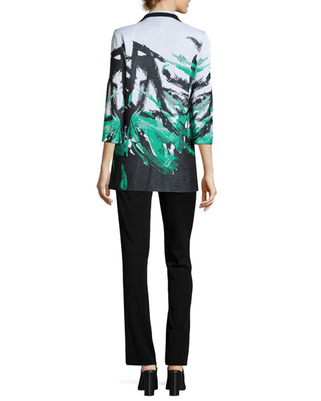 Notched-Collar Graphic-Print Knit Jacket, Plus Size