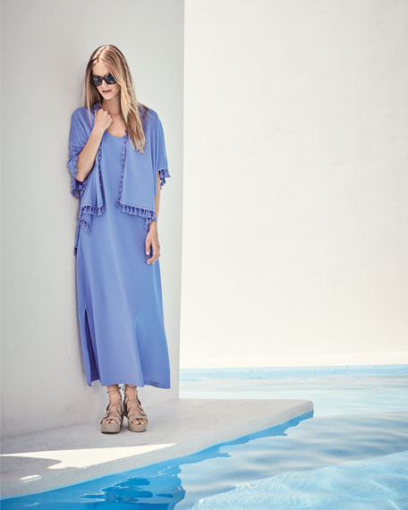 Pique Knit Long Tank Dress, Lavender, Petite