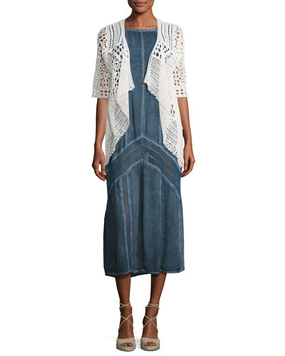 Crocheted Open Cardigan & Long Paneled Denim Tank Dress