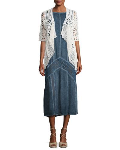 Crocheted Open Cardigan & Long Paneled Denim Tank Dress