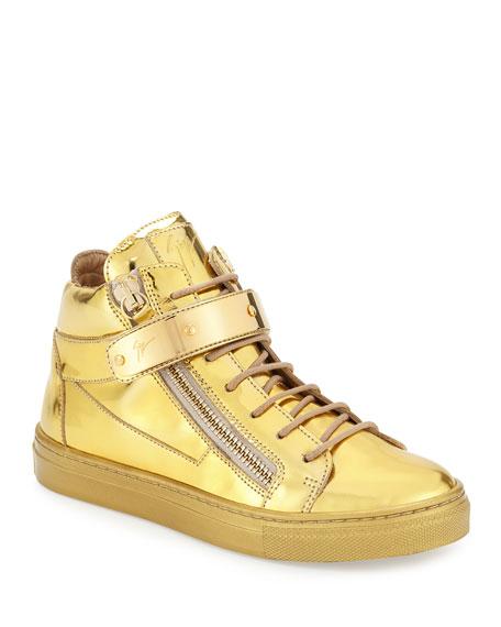 Kids' Unisex Metallic Leather High-Top Sneaker, Gold, Infant