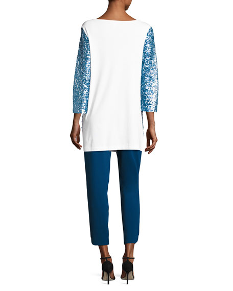 3/4-Sleeve Gradient Sequined Tunic