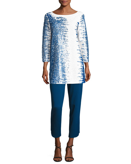 3/4-Sleeve Gradient Sequined Tunic