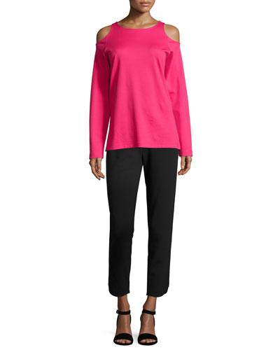 Cold-Shoulder Long-Sleeve Top & Ponte Pants