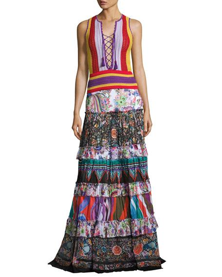 Roberto Cavalli Mixed-Print Tiered Maxi Peasant Skirt, Multicolor