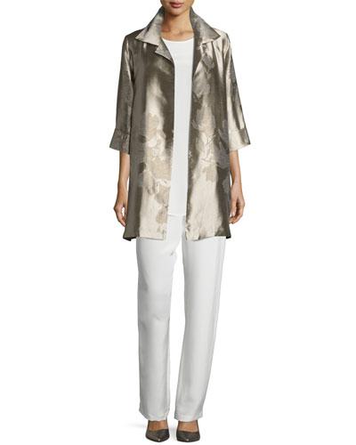 Crepe Tunic/Tank, Silk Crepe Straight-Leg Pants & Fine Vines Jacquard Topper Coat, Plus Size