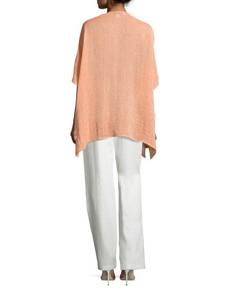 Straight-Leg Linen Pants, White, Plus Size