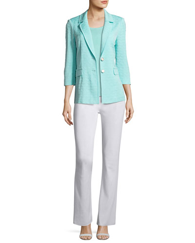 Textured Two-Button Jacket, Sea Grass, Plus Size and Matching Items