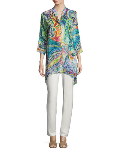 Paisley-Print Georgette Blouse, Plus Size and Matching Items