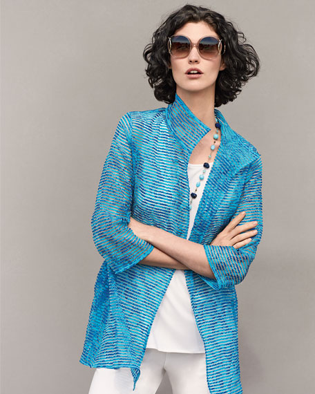 Tonal Ribbon Topper Jacket, Blue, Plus Size