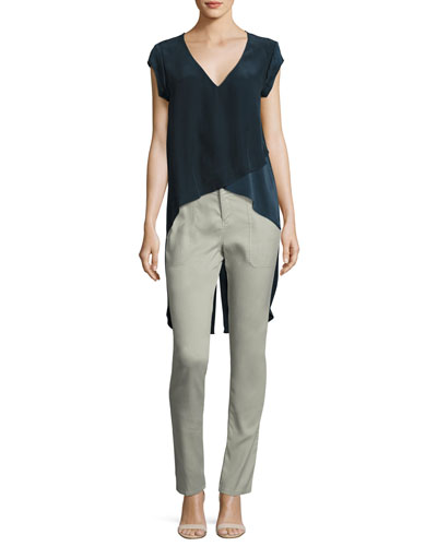 Go Tailgate High-Low Stretch-Silk Top & Go Get Cleaned Up Pants