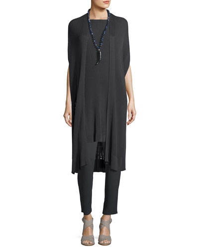 Long Sleek Tencel® Ribbed Kimono Cardigan, Plus Size and Matching Items