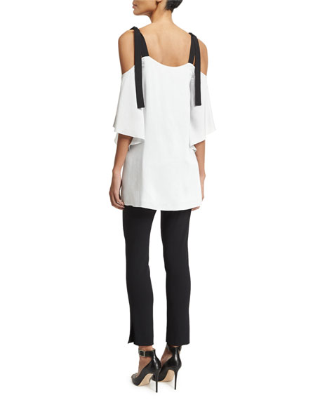 Short-Sleeve Cold-Shoulder Striped Top w/ Contrast Ties, Multi