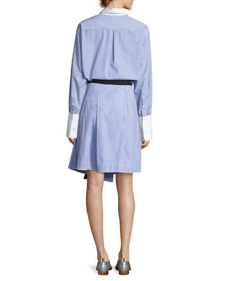 Lenna Striped Poplin Belted Wrap Skirt, Blue/White