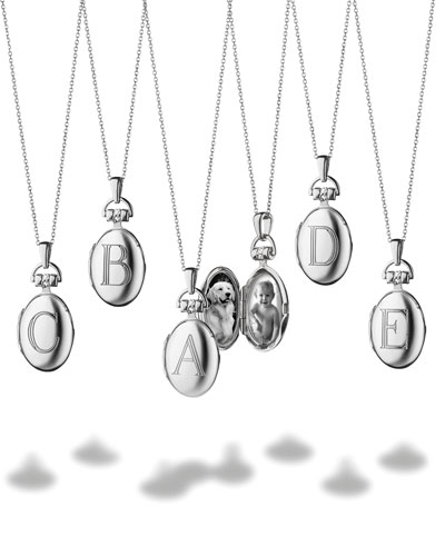 Petite Sterling Silver Single Initial Locket Necklace