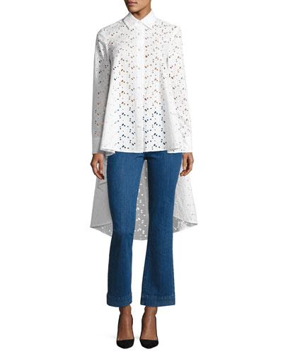 Eyelet Lace Waterfall-Back Shirt, White and Matching Items