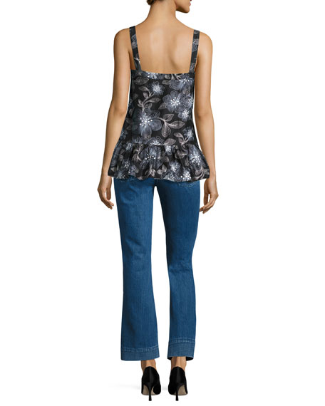 Embroidered Floral Leaf Ruffle Top, Navy