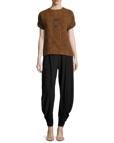Sahara Heavy Linen Tee, Brown and Matching Items