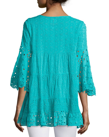Bell-Sleeve Eyelet Tiered Tunic, Petite