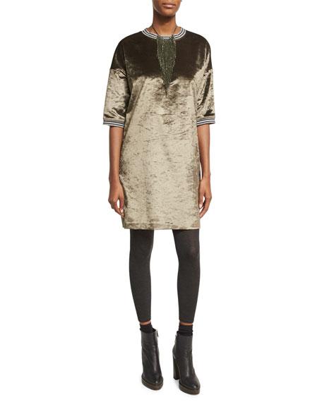 Velvet 1/2-Sleeve Dress with Varsity Stripes