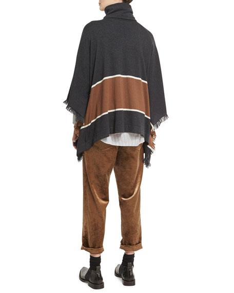 Bold-Stripe Cashmere Poncho with Fringe, Onyx