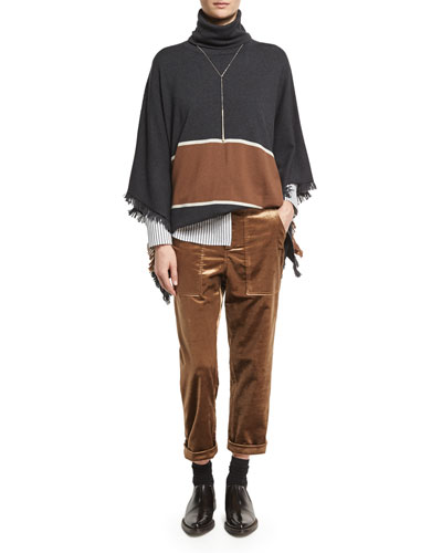Bold-Stripe Cashmere Poncho with Fringe, Onyx and Matching Items