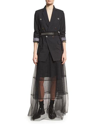 Double-Breasted Long Blazer Jacket with Monili Belt, Onyx and Matching Items