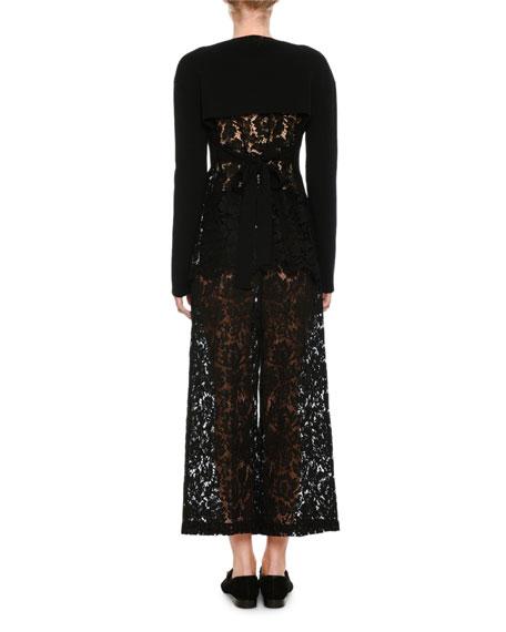 Lace Cropped Wide-Leg Pants, Black
