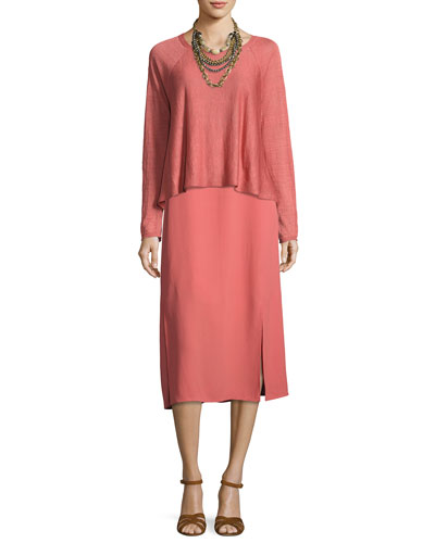 Silk Georgette Crepe Midi Tank Dress, Coral and Matching Items