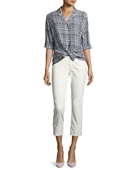 Lafayette 148 New York Waxed Cropped Cuffed Jeans, White and ...
