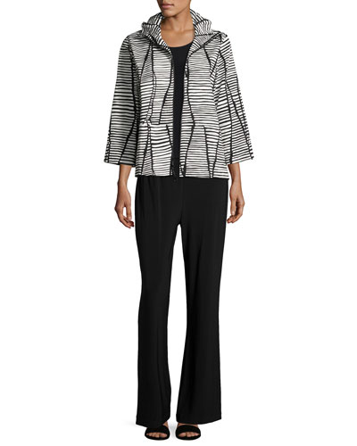 Lines & Vines Zip Jacket, Black/White, Petite and Matching Items