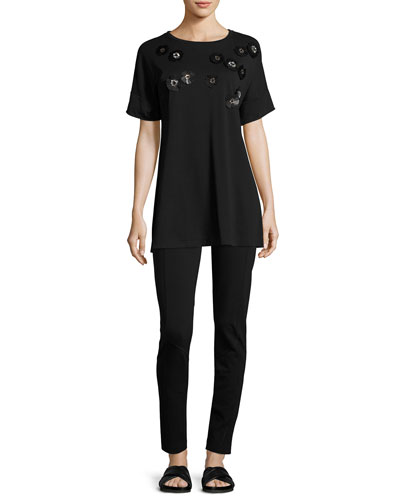 Short-Sleeve Tunic w/ Paillette Flowers, Black   and Matching Items