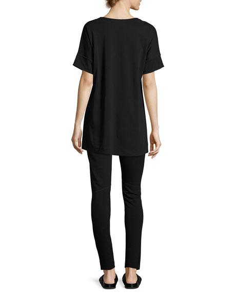 Short-Sleeve Tunic w/ Paillette Flowers, Black, Petite