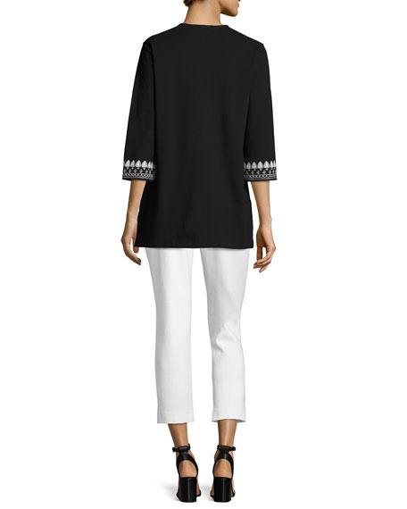 3/4-Sleeve Cotton Interlock Embroidered Tunic, Black/White