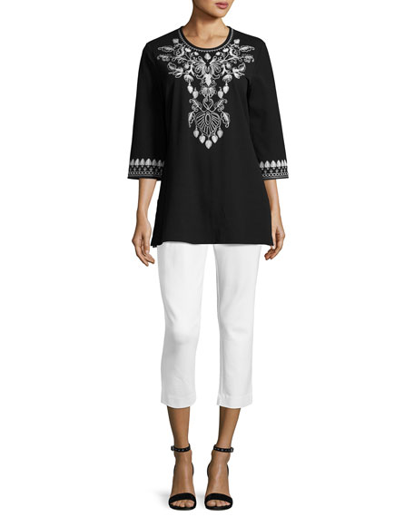 3/4-Sleeve Cotton Interlock Embroidered Tunic, Black/White