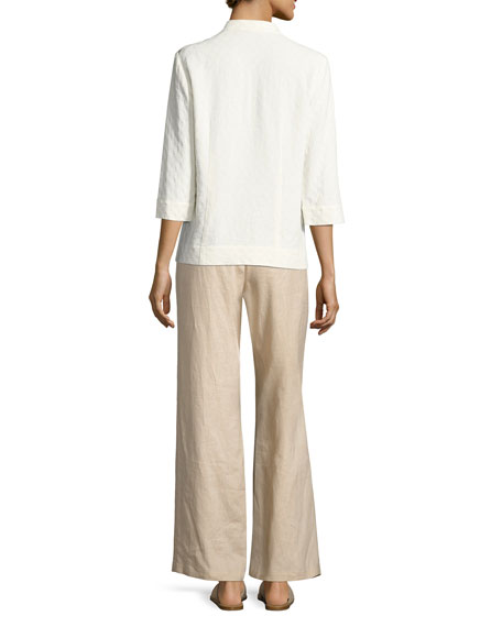 Linen Wide-Leg Pants, Plus Size