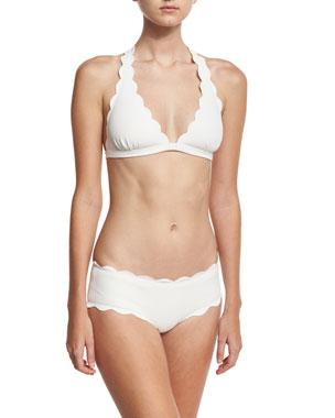 98a938fbe09af Marysia Spring Scalloped Halter Swim Top Spring Scalloped Boy-Cut Bikini  Swim Bikini Bottom