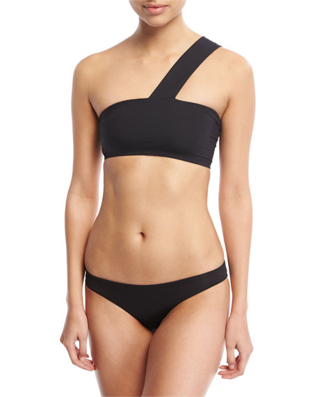 Mia Stretch Solid Bandeau Collar Swim Top, Black