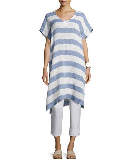 Striped Organic Linen Gauze V-Neck Tunic, Chambray, Petite