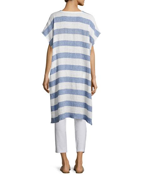 Striped Organic Linen Gauze V-Neck Tunic, Chambray, Plus Size
