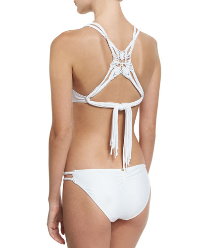 Macrame Braided Back Triangle Swim Top, White (Available in D Cup) and Matching Items