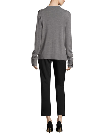 Samantha Cropped Straight-Leg Pants, Black