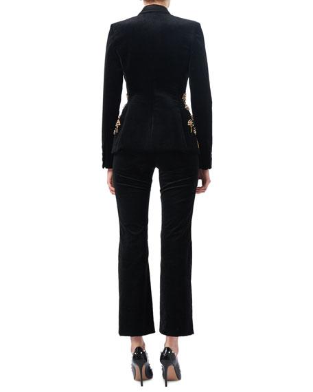 Serge Velvet Flat-Front Classic Pants, Black