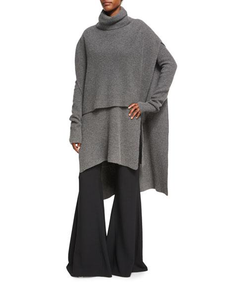 Flat-Front Flare-Leg Trousers, Black