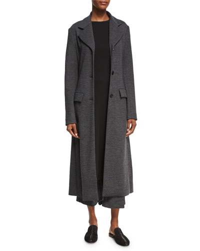 Mélange Wool Flare-Back Coat, Charcoal and Matching Items