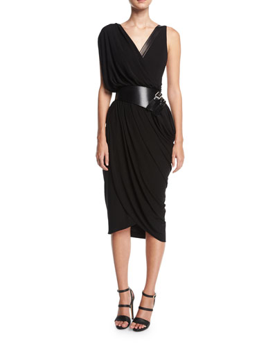 Asymmetric Drape Dress with Plongé Trim, Black and Matching Items