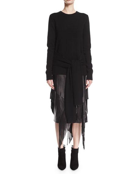 Fringed Lamb Leather Pencil Skirt, Black