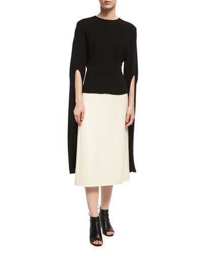 Wool-Silk Pencil Skirt with Slit, Ivory and Matching Items