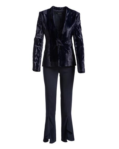 Julianne Tailored Skinny Ruffle-Hem Pants